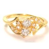 แหวนผู้หญิงหุ้มทองคำแท้ฝังเพชร CZ หน้าแหวนลายช่อดอกและใบไม้