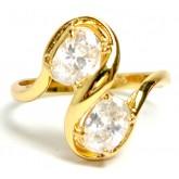 แหวนหุ้มทองคำแท้ก้านอิตาลีไขว้บนล่างทแยงฝังเพชรทรงรี 2 เม็ด