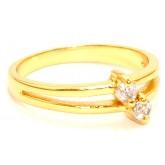 แหวนหุ้มทองคำแท้หน้าแหวนฝังเพชรคู่แบบหนามเตย CZ Heart And Arrow Cut