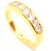 แหวนผู้หญิงหุ้มทองคำแท้ ประดับเพชรแถว CZ HEART AND ARROW CUT 7 เม็ด