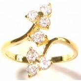 แหวนผู้หญิงหุ้มทองคำแท้ฝังเพชร CZ ลายใบไม้บนล่าง