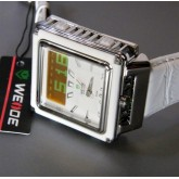 WEIDE - WH908-2L: Dual Time Dual System White Dial Leather Strap Sports Watch