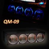 QM-09 : Dual Color Analog VU Meter + Temp. + Volt Meters