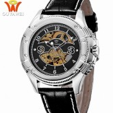 OUYAWEI - OYW12-27-1: นาฬิกาข้อมือออโตเมติคแบบเปลือย หน้าปัดดำ สายหนังแท้