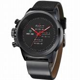 WEIDE WH3305-2 นาฬิกาควอทซ์สปอร์ตชาย สายหนังแท้  เรือนดำ-เข็มแดง