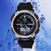 OHSEN – AD1209-2: นาฬิกาข้อมือสปอร์ต 2 ระบบ / ปลุก / จับเวลา สีดำ/โลหะ