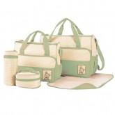 Baby mamy กระเป๋าคุณแม่เซ็ท 5 ชิ้น ลายจุด (สีเขียว)