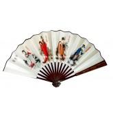 พัดจีนพับด้ามไม้ลายสี่สาวงามแห่งจีน