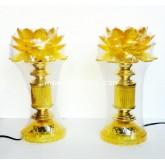 โคมหน้าพระดอกบัวบานสีเหลืองแสง Led  ขนาดสูง 12 นิ้ว