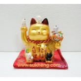 แมวกวักสีทองนำโชคลูกหลานสุขสันต์ ขนาด  4  นิ้ว