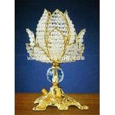 โคมไฟฟ้าดอกบัวบานคริสตัล แบบตั้งโต๊ะ ประดับหน้าพระพุทธรูป