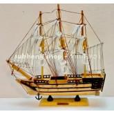 เรือสำเภาไม้ประดับหมุดทองเหลือง ตั้งโชว์ ขนาด 12 นิ้ว