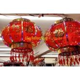 โคมแขวนไฟฟ้าทรงกลมสีแดงมีลาย แขวนวันมงคล  ขนาด 40 cm