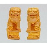 สิงโตสีทองเฝ้าประตูคู่มงคล  ขนาดเล็ก สูง 4 นิ้ว