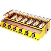 เตาปิ้งแก๊สไร้ควัน6หัวสีเหลือง แผ่นบังเตาสแตนเลส HB-206