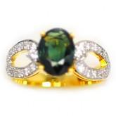 แหวนทองคำแท้ 90 ประดับพลอยเขียวส่อง 1.79 กะรัตพร้อมเพชรแท้เบลเยียม 0.35 กะรัตสินค้ามีใบรับประกัน