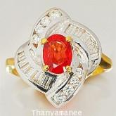 แหวนทองคำประดับพลอยทับทิม1.19 กะรัต เพชรเบลเยียมแท้ 0.66 กะรัต