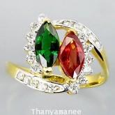 แหวนทองคำประดับพลอยแฟนซี 1.64 กะรัต พร้อมเพชรแท้เบลเยียม 0.42 กะรัต สินค้ามีใบรับประกันทุกชิ้น