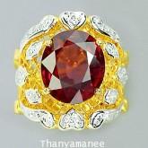 แหวนทองคำประดับพลอยโรโดไลท์ 7.24 กะรัต พร้อมเพชรแท้เบลเยียม 0.21 กะรัต สินค้ามีใบรับประกันทางร้าน