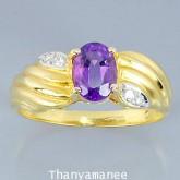 แหวนทองคำแท้ 90 ประดับพลอยอะเมทิส 0.84 กะรัต เพชรแท้เบลเยียม 0.69 กะรัต สวยงาม