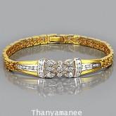 สร้อยข้อมือทองคำแท้ 90 ประดับเพชรแท้เบลเยียม 1.35 กะรัต เรียบง่าย หรูหราเมื่อสวมใส่
