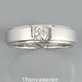 แหวนทองคำขาวแท้ 75 ประดับเพชรแท้เบลเยียม 0.21 กะรัต หรูหราสวยงาม
