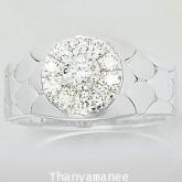 แหวนเพชรแท้เบลเยียม 0.71 กะรัต ตัวเรือนทองคำขาวแท้ หรูหราสวยงามมาก