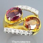 แหวนทองคำแท้ 90 ประดับพลอยสเป๊ก-โคโรไลท์  4.74 กะรัต พร้อมเพชรแท้เบลเยียม 0.43 กะรัต สินค้ามีใบรับปร
