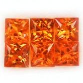 พลอย อ้อเร้น แซฟไฟร์ แท้  0.74  กะรัต จำนวน  6  เม็ด  สีส้มแดง