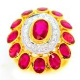 แหวนทองคำแท้ 90ประดับพลอยทับทิม 9.47 กะรัต พร้อมเพชรเบลเยี่ยมแท้ 0.35 กะรัตสวยงาม ทันสมัย ดีไซร์สวย