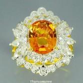 แหวนพลอยทองคำแท้ 90 ประดับพลอยบุศราคัม 3.22 กะรัต พร้อมเพชรแท้เบลเยียม 2.04 กะรัต สินค้ามีใบรับประกั