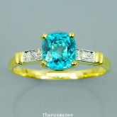แหวนพลอยทองคำแท้ 90 ประดับพลอยเพทาย 2.25 กะรัต พร้อมเพชรแท้เบลเยียม 0.03 กะรัต สินค้ามีใบรับประกันจา