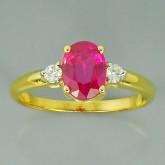 แหวนพลอยทองคำแท้ 90 ประดับพลอยทับทิม 1.77 กะรัต พร้อมเพชรแท้เบลเยียม 0.12 กะรัต สินค้ามีใบรับประกันจ