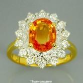 แหวนพลอยทองคำแท้ 90 ประดับพลอยบุศราคัม 3.05 กะรัต พร้อมเพชรแท้เบลเยียม 0.51 กะรัต สินค้ามีใบรับประกั