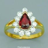 แหวนพลอยทองคำแท้ 90 ประดับพลอยทับทิม 0.83 กะรัต พร้อมเพชรแท้เบลเยียม 0.54 กะรัต สินค้ามีใบรับประกันจ