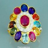 แหวนพลอยสลับสีทองคำแท้ 90 ประดับพลอยสลับสี 8.19 กะรัต พร้อมเพชรแท้เบลเยียม 0.22 กะรัต สินค้ามีใบรับป