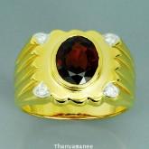 แหวนพลอยทองคำแท้ 90 ประดับพลอยโกเมน 2.61 กะรัต พร้อมเพชรแท้เบลเยียม 0.06กะรัต สินค้ามีใบรับประกันจาก