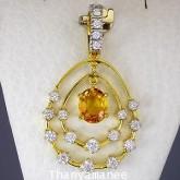 จี้ทองคำแท้ 90  พลอยบุษราคัม 1.16  กะรัต พร้อมเพชรแท้ 0.62 กะรัต  สวยงาม เรียบหรู สินค้ามีใบรับประกั