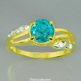 แหวนพลอยทองคำแท้ 90 ประดับพลอยเพทาย 2.31 กะรัต พร้อมเพชรแท้เบลเยียม 0.05 กะรัต สินค้ามีใบรับประกันจา