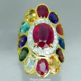 แหวนพลอยสลับสีทองคำแท้ 90 ประดับพลอยสลับสี 15.37กะรัต พร้อมเพชรแท้เบลเยียม 0.37กะรัต สินค้ามีใบรับปร