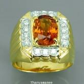 แหวนพลอยทองคำแท้ 90 ประดับพลอยบุศราคัม  3.52 กะรัต พร้อมเพชรแท้เบลเยียม  0.39 กะรัต สินค้ามีใบรับประ