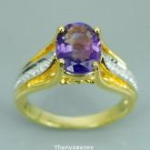 แหวนทองคำแท้ 90 ประดับพลอยอเมทิส  1.62กะรัต พร้อมใบรับกระกันจากทางร้าน