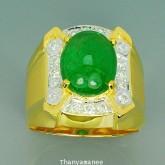 แหวนทองคำแท้90 ประดับพลอยกรีนการ์เน็ต 7.38 กะรัต สินค้ามีใบรับประกันจากทางร้านทุกชิ้น