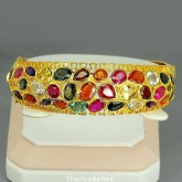 ข้อมือทองคำแท้90 ประดับพลอยสลับสี 31.34 กะรัต สินค้ามีใบรับประกันจากทางร้าน