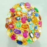 แหวนพลอยสลับสีทองคำแท้ 90 ประดับพลอยสลับสี  14 กะรัต สินค้ามีใบรับประกันจากทางร้านทุกชิ้น