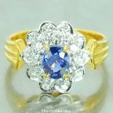 แหวนทองคำแท้ 90   ประดับพลอยไพลิน 0.97 กะรัต พร้อมเพชรเบลเยี่ยมแท้  0.55กะรัต  สวยงาม  สินค้ามีใบรับ