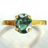 แหวนพลอยทองคำแท้ 90 ประดับพลอยเขียวส่อง 1.91 กะรัต สินค้ามีใบรับประกันจากทางร้านทุกชิ้น