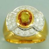 แหวนพลอยทองคำแท้ 90 ประดับพลอยบุศราคัม  2.33 กะรัต พร้อมเพชรแท้เบลเยียม  0.53 กะรัต สินค้ามีใบรับประ