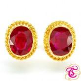 ต่างหูทองคำประดับพลอยทับทิม 5.94กะรัต ตัวเรือนทองคำแท้ 90 สินค้ามีใบรับประกันจากทางร้านทุกชิ้น