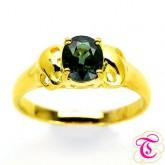 แหวนพลอยทองคำแท้ 90 ประดับพลอยเขียวส่อง 1.04 กะรัต สินค้ามีใบรับประกันจากทางร้านทุกชิ้น